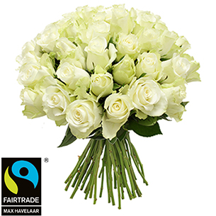 Bouquet de roses Brassée de roses blanches + 10 roses offertes Max Havelaar Amour