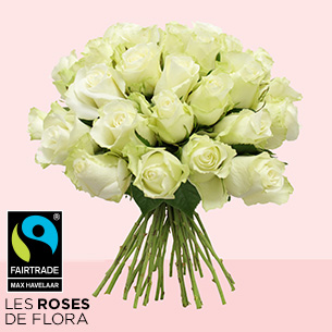 Bouquet de roses Brassée de roses blanches Max Havelaar Deuil