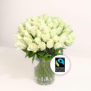 Bouquet de roses Brassée de roses blanches Max Havelaar Anniversaire