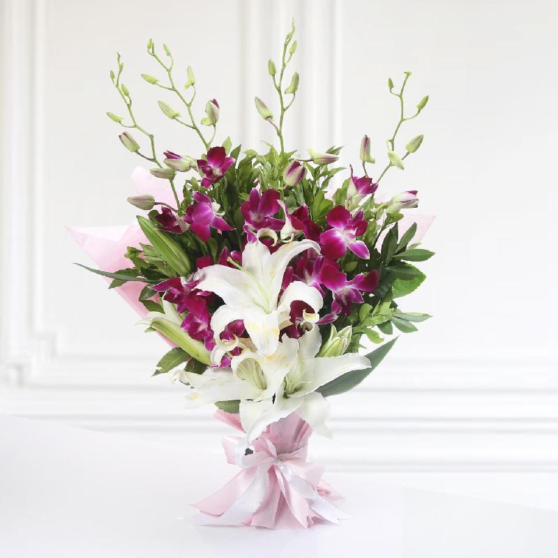 Bouquet de fleurs GRACEFUL BUNCH OF ORCHIDS AND LILIES