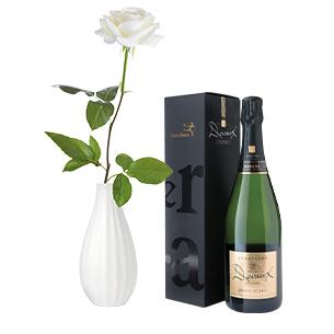 Fleurs et cadeaux Rose blanche, son champagne Devaux Anniversaire