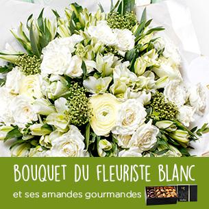 Fleurs et cadeaux Bouquet du fleuriste blanc et ses amandes au chocolat Remerciements