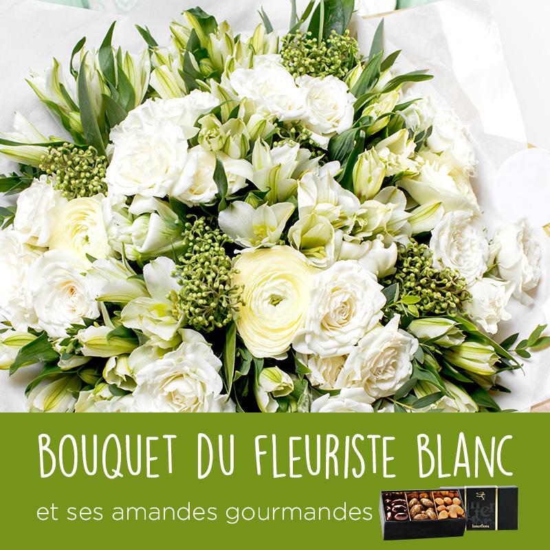 Fleurs et cadeaux Bouquet du fleuriste blanc et ses amandes au chocolat