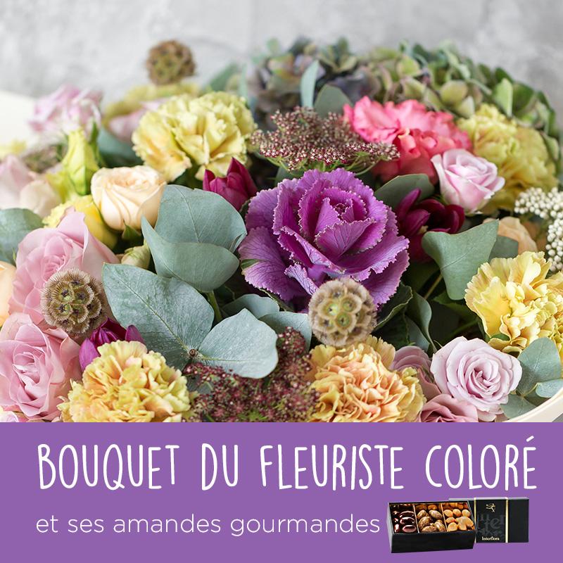Fleurs et cadeaux Bouquet du fleuriste coloré et ses amandes au chocolat