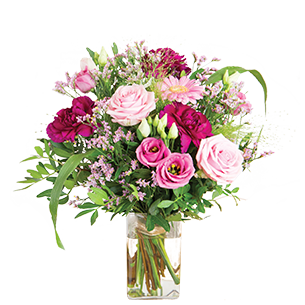 Bouquet de fleurs Bois de rose et son vase offert