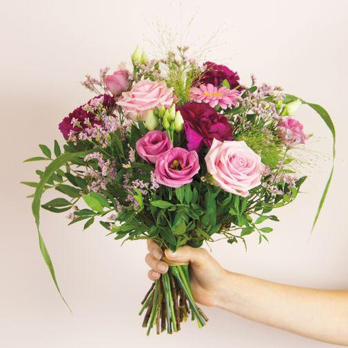 Bouquet de fleurs Bois de rose et son vase