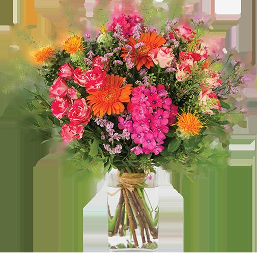 Bouquet de fleurs Fantaisie et son vase