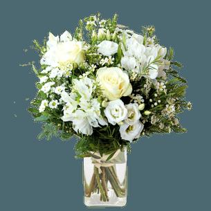 Bouquet de fleurs Jade et son vase offert Pour le plaisir