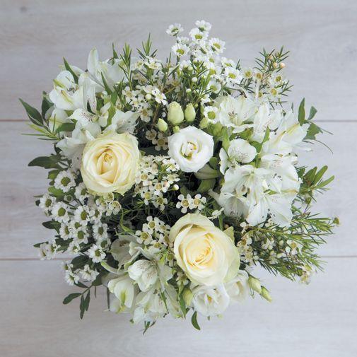 Bouquet de fleurs Jade et son vase offert