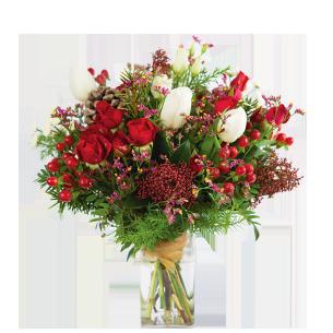 Bouquet de fleurs Magie de noël et son vase offert Noël