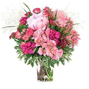Bouquet de fleurs Maman chérie et son vase Fête des Mères