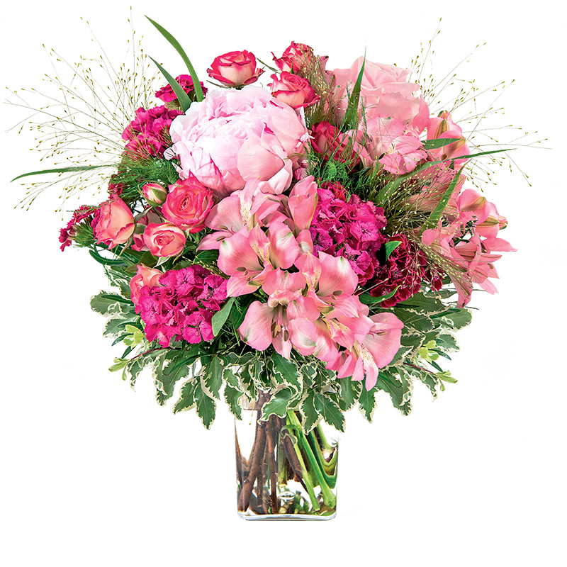Bouquet de fleurs Maman chérie et son vase offert
