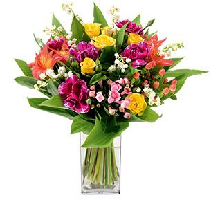 Bouquet de fleurs Porte bonheur et son vase offert