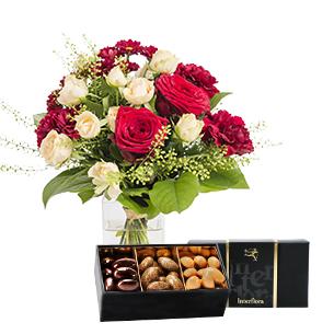 Bouquet de fleurs Salsa et son écrin d'amandes au chocolat Anniversaire