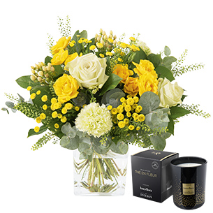 Bouquet de fleurs Sunshine et sa bougie parfumée Interflora par Esteban Anniversaire