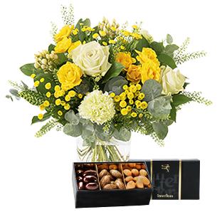 Fleurs et cadeaux Sunshine et son écrin d'amandes au chocolat Anniversaire