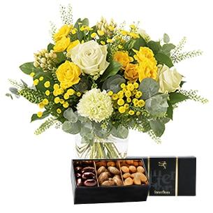 Fleurs et cadeaux Sunshine et son écrin d'amandes au chocolat Remerciements