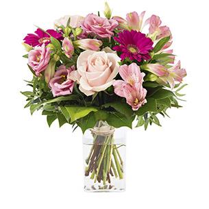 Bouquet de fleurs La vie en rose et son vase offert
