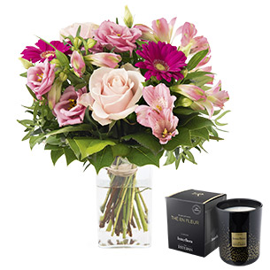 Bouquet de fleurs La vie en rose et sa bougie parfumée Interflora par Esteban Anniversaire