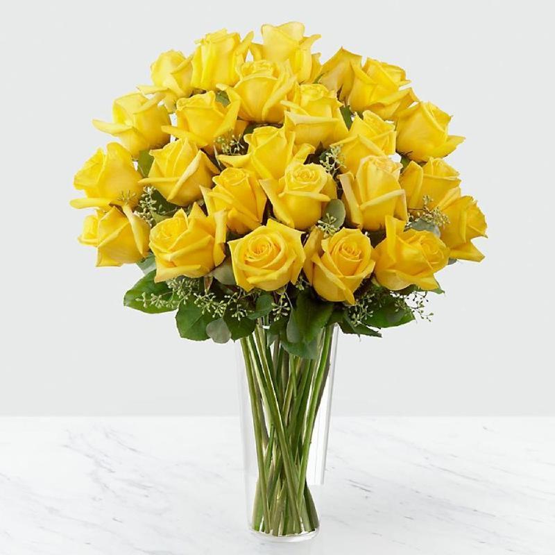 Bouquet de fleurs 24 Yellow Roses in Vase